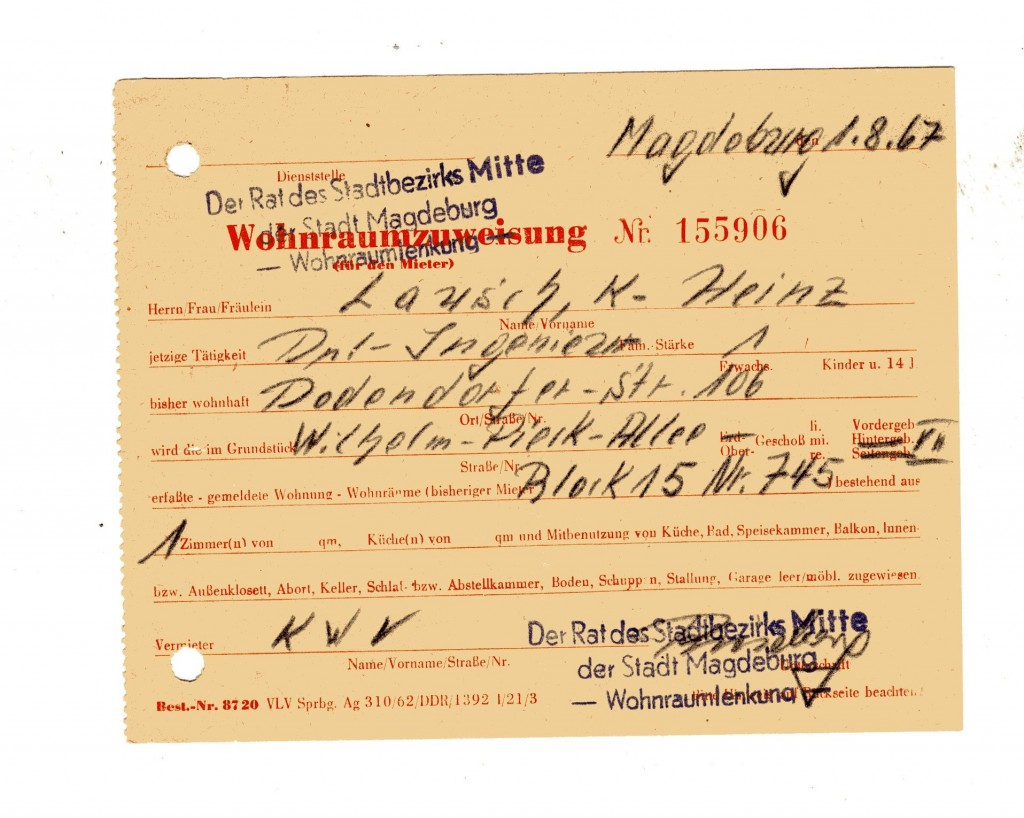 Die originale Wohnraumzuweisung von Karl-Heinz Lausch für den Blauen Block.